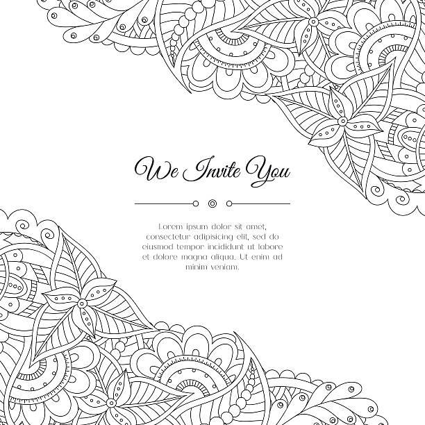 Hand drawn floral doodle corner - ilustración de arte vectorial