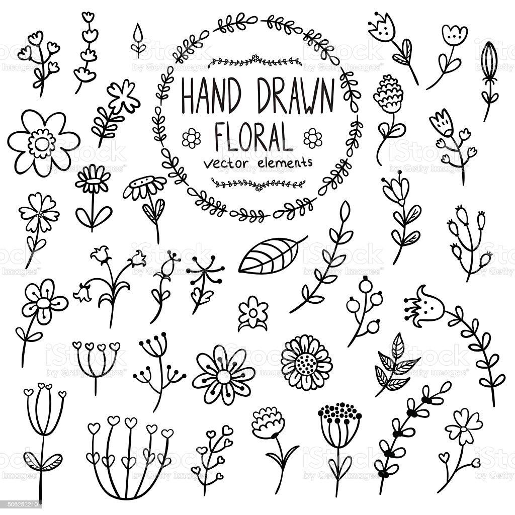 Hand drawn floral elements for your design. Vector illustration vector art illustration