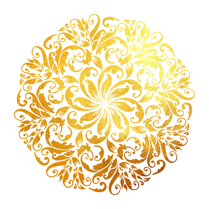 Hand Drawn Floral Gold Colored Mandala. Modern and Minimalist Mandala with Bright Colors. Geometric Circle Design Element for Invitation and Greeting Cards.
