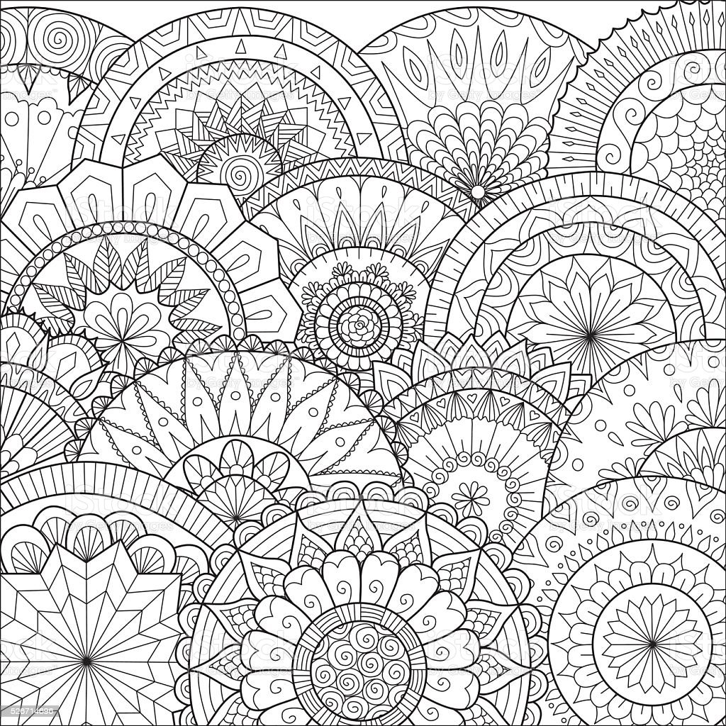 Hand Drawn Floral Mandala Background For Coloring Page