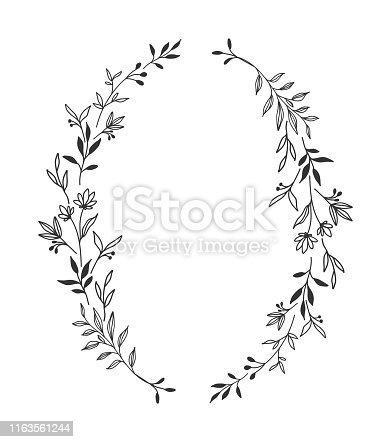 Hand drawn black floral oval frame wreath with space to your text on white background