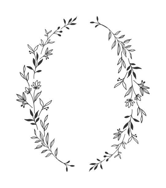 hand gezeichnet floral ovalen rahmen kranz auf weißem hintergrund - blumengirlanden stock-grafiken, -clipart, -cartoons und -symbole