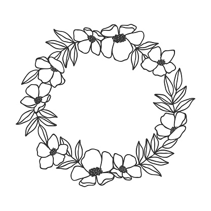Hand drawn floral oval frame wreath on white background