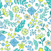 Hand drawn floral pattern of bright flowers in lovely style. Vector backdrop. Summer template. Use for wallpaper,pattern fills, web page background