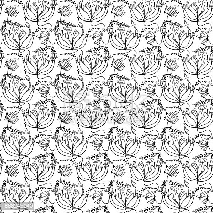 hand drawn floral pattern, vector background with floral motif