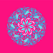 Hand Drawn Floral Pink and Blue Mandala. Modern and Minimalist Mandala with Bright Colors. Geometric Circle Design Element for Invitation and Greeting Cards.