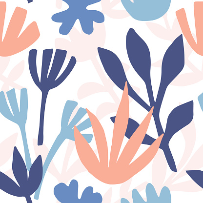 Hand drawn floral seamless repeat pattern
