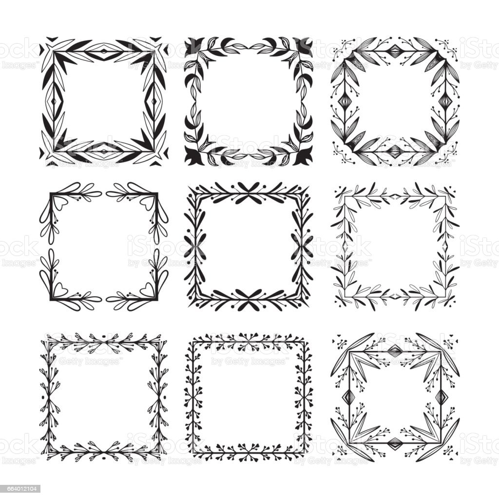 Handgemalte Florale Quadratische Rahmen Für Die Seite Dekoration Auf ...