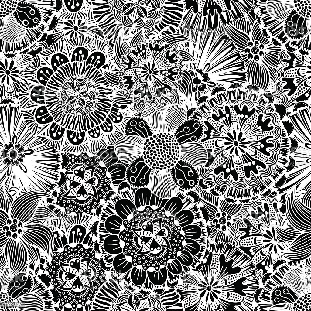 Hand drawn floral wallpaper vector art illustration