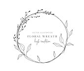 Floral wreath with leaves for wedding, Decorative element for design A gorgeous leaves wreath that will look lovely on wedding invites, cards, and logos.
