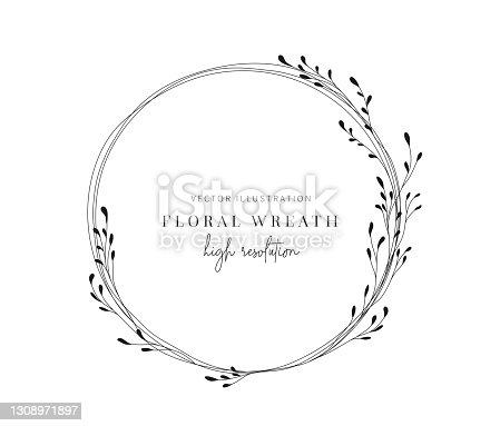 istock Hand drawn floral wreath, Floral wreath with leaves for wedding. 1308971897