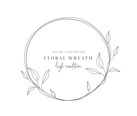 Hand drawn floral wreath, Floral wreath with leaves for wedding.