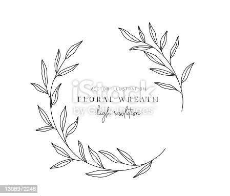 istock Hand drawn floral wreath, Floral wreath with leaves for wedding. 1308972246