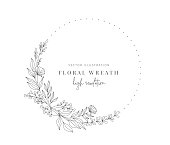 istock Hand drawn floral wreath, Floral wreath with leaves for wedding. 1308973064