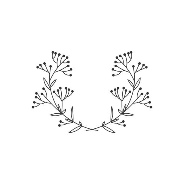 hand gezeichnet blumenkranz auf weißem hintergrund - blumengirlanden stock-grafiken, -clipart, -cartoons und -symbole