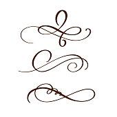 hand drawn flourish separator Calligraphy elements. Vector illustration.
