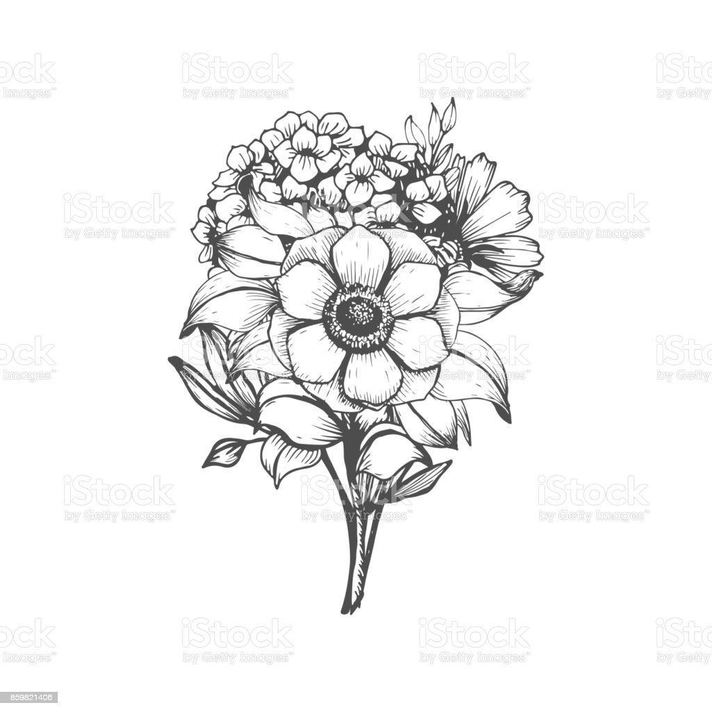 Ramo de flores dibujadas a mano - ilustración de arte vectorial