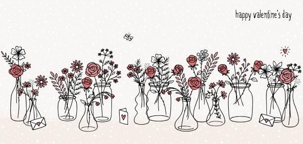 Hand drawn flower bouquets vector art illustration