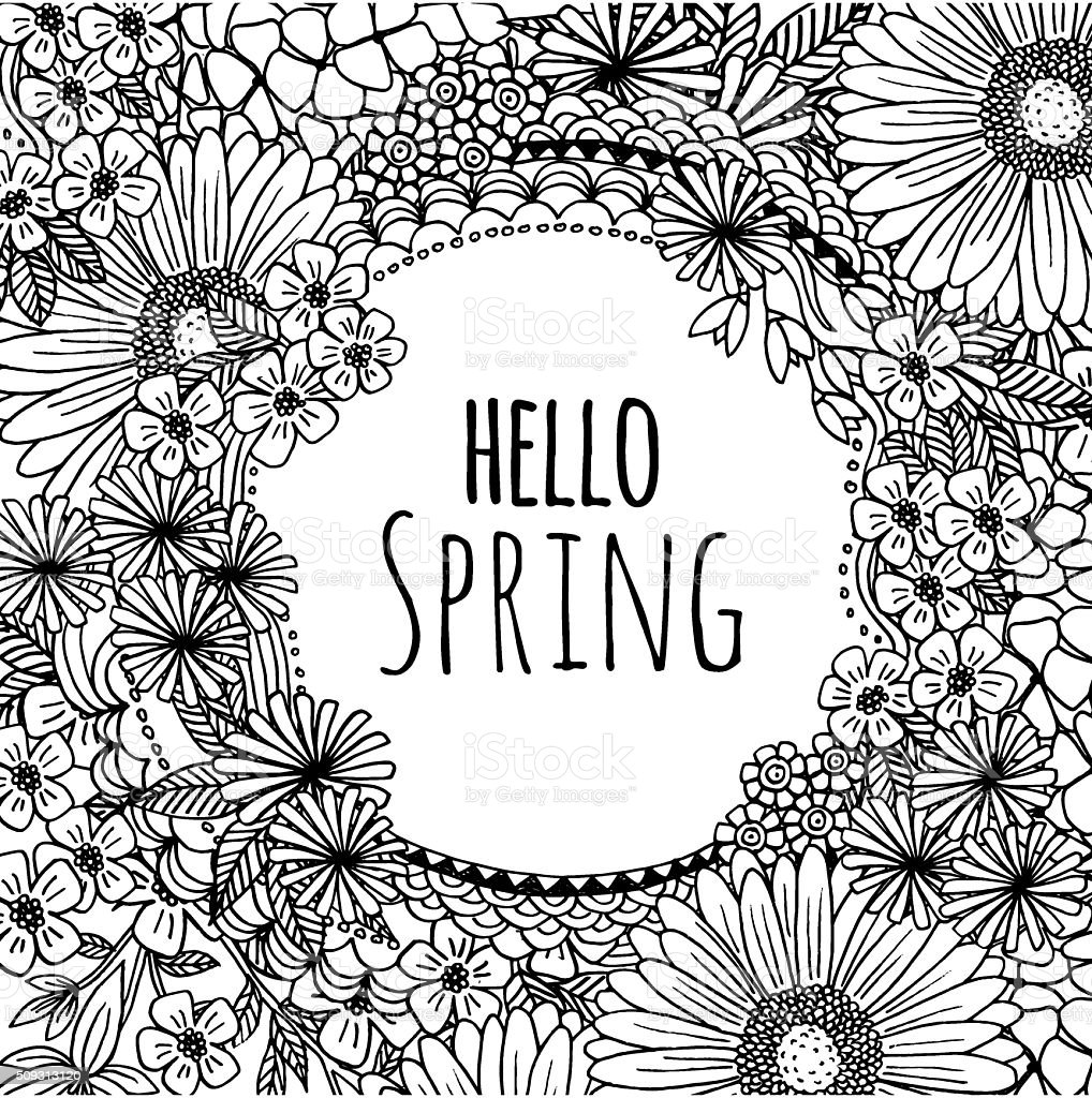 Hand drawn flower frame 'hello spring' royalty-free hand drawn flower frame hello spring stock vector art & more images of alphabet