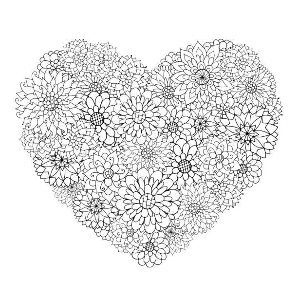 Hand drawn flower heart for adult anti stress. vector art illustration