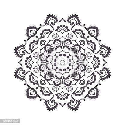 Hand Drawn Flower Mandala For Coloring Book Stock Vector Art More Images Of Abstract 636822302