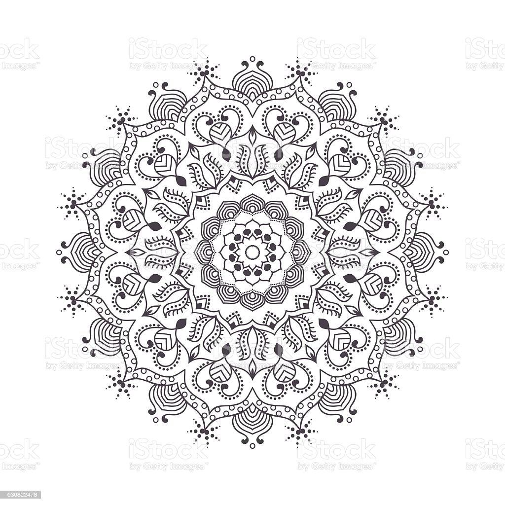 Hand Drawn Flower Mandala For Coloring Book Stock Vector Art & More ...