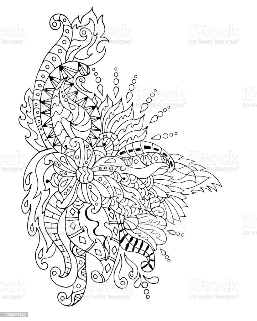 Hand Drawn Flower Ornament Coloring Page Coloring Book Page For