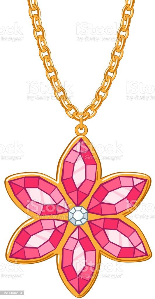 Hand drawn flower pendant necklace. vector art illustration
