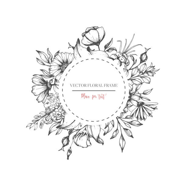 Black Flower Decorative Frame Vectors Material 04 Free: Royalty Free Black And White Flower Clip Art, Vector