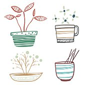 Vector illustratiion of a collection of hand drawn flowerpots.