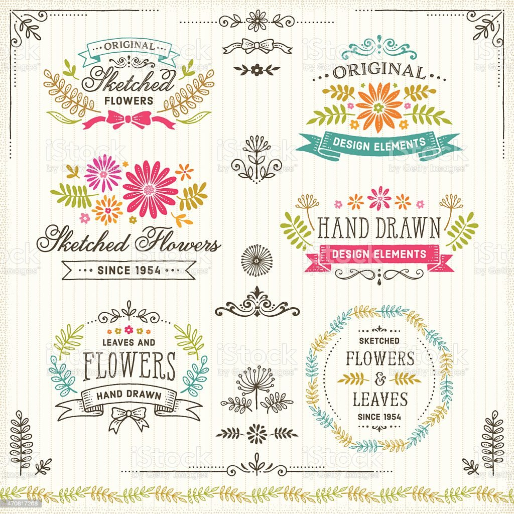 Hand Drawn Flowers and Leaves Design Elements with Frames and Badges vector art illustration