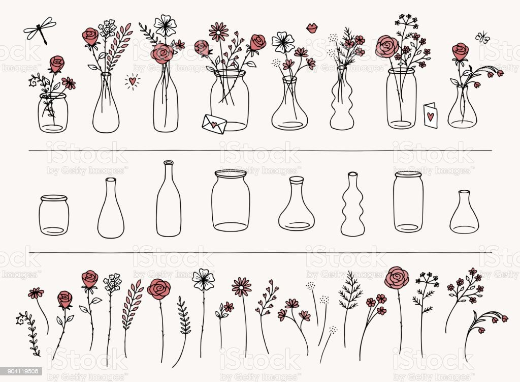 Hand drawn flowers and vases vector art illustration