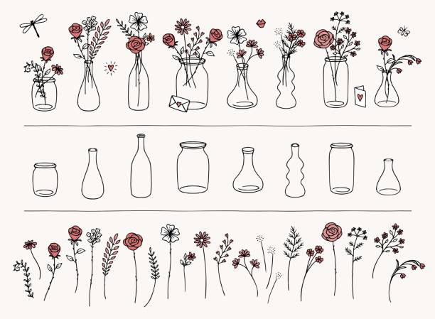 Hand drawn flowers and vases Set of hand drawn flowers and vases for Valentine's Day, to create your own bouquet bunch stock illustrations