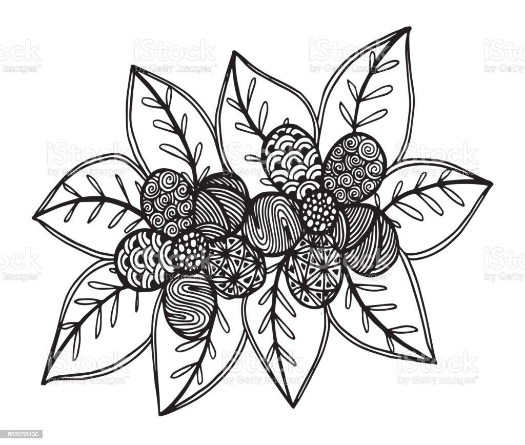 Elle çizilmiş çiçek Boyama Kitabı çizim çizim Boyama Mandala