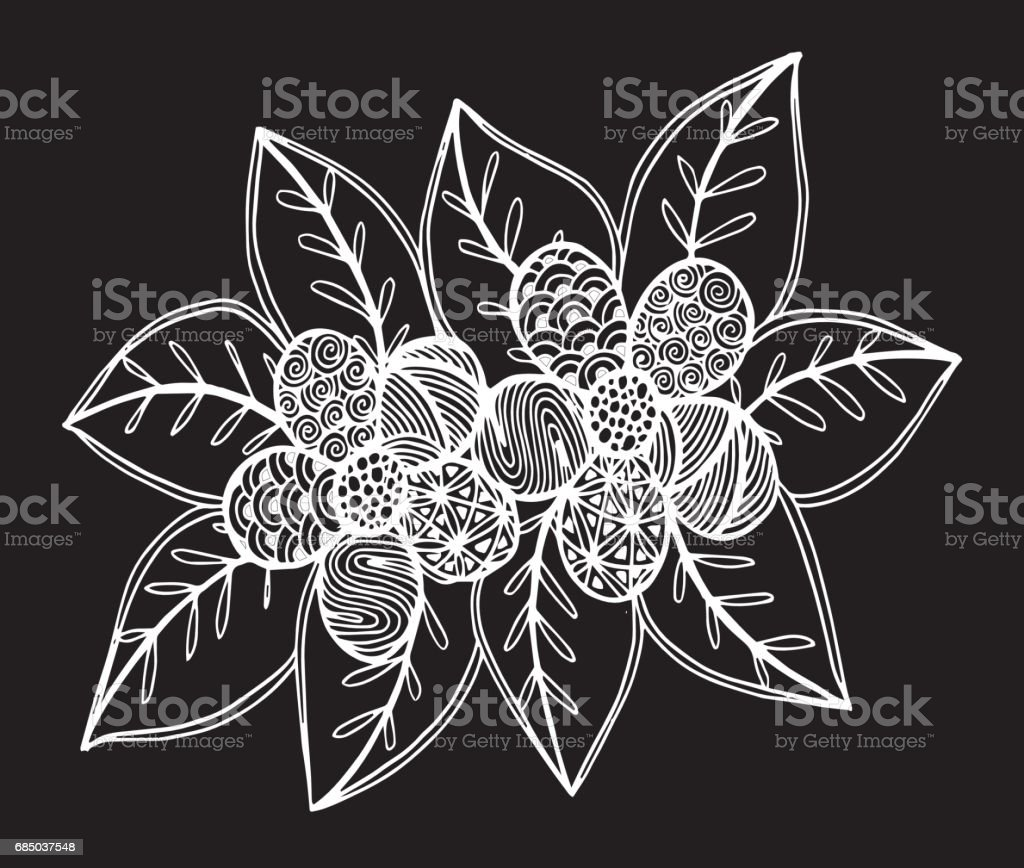 Hand Drawn Flowers Ornament For Coloring Book