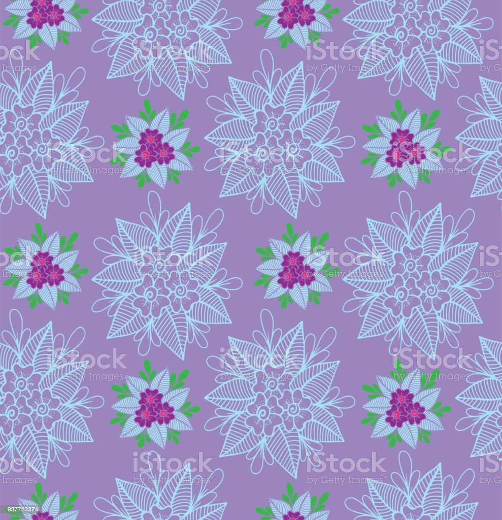 Hand Drawn Flowers Seamless Pattern For Wrapping Paper Of Fabric
