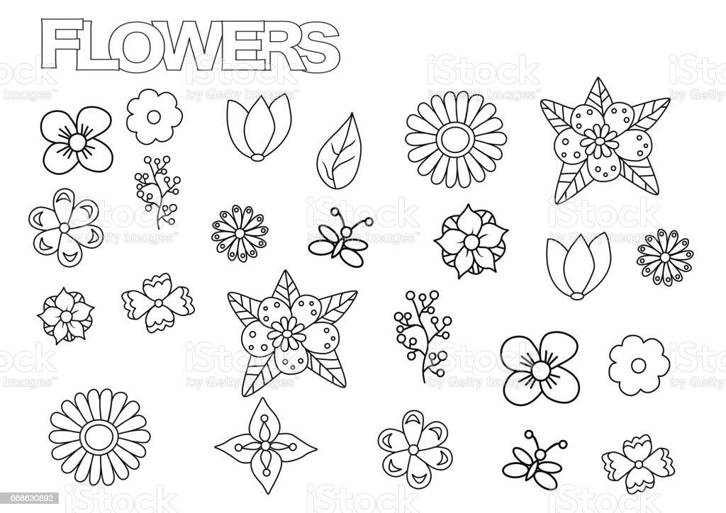 Ilustración de Conjunto De Flores Hechos A Mano Plantilla De Página ...