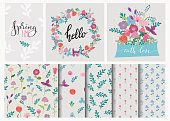 Hand drawn flowers set, wreath and flowers seamless pattern. Cute, colorful vector flowers for postcard and poster modern design. Spring or summer flower calligraphy, hand drawn style backgrounds.