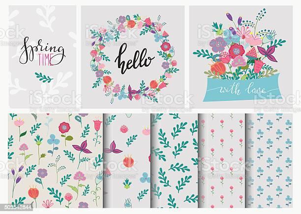 Hand drawn flowers set wreath and seamless pattern vector id503542844?b=1&k=6&m=503542844&s=612x612&h=sximwikbxpjx2rex0q164rwktc yqu cgnd3s9rvjki=