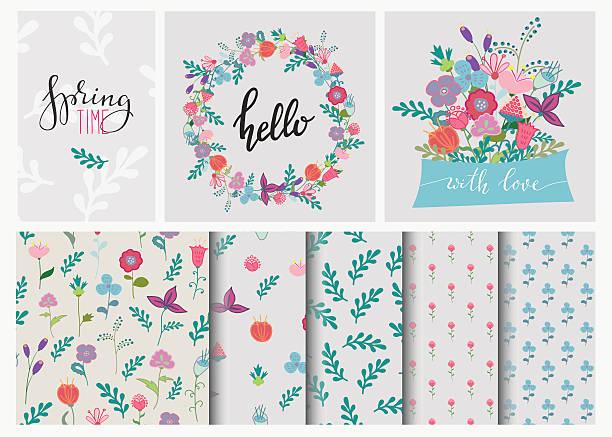 手描きの花のシームレスなパターンのセットのリースと - 春のファッション点のイラスト素材/クリップアート素材/マンガ素材/アイコン素材