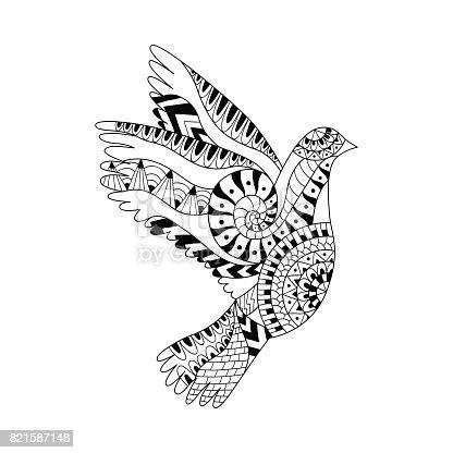 Yetişkin Anti Stres Boyama Sayfası Için Elle çizilmiş Uçan Güvercin