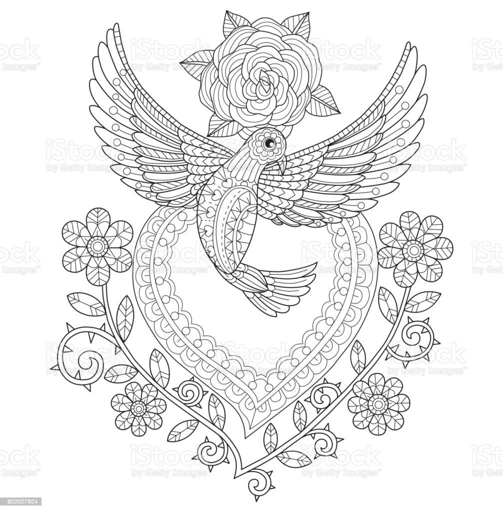 getrokken vliegende duif met hart en rozen voor