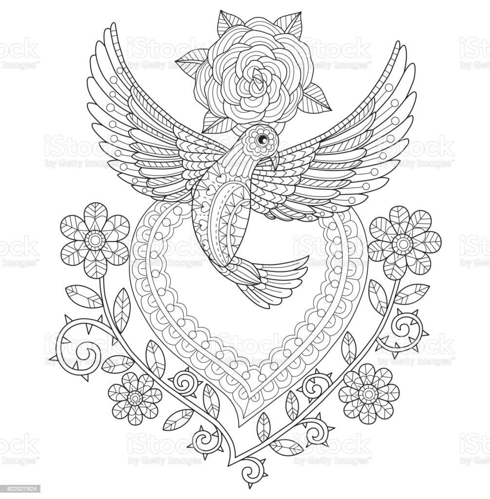 Handritade flygande duva med hjärta och rosor för vuxen målarbok. vektorkonstillustration