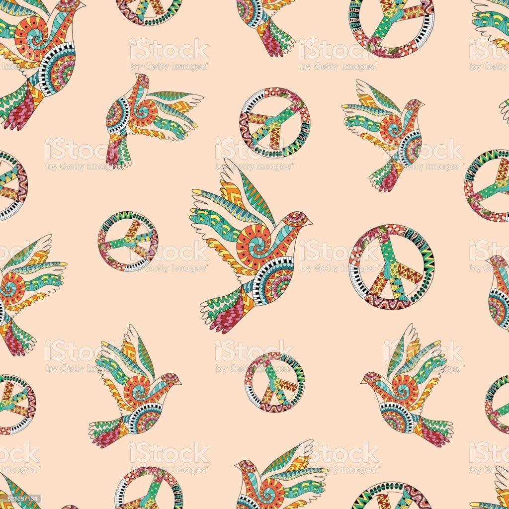 Hand drawn flying doves and sign peace. Hippie wallpaper. - Illustration .