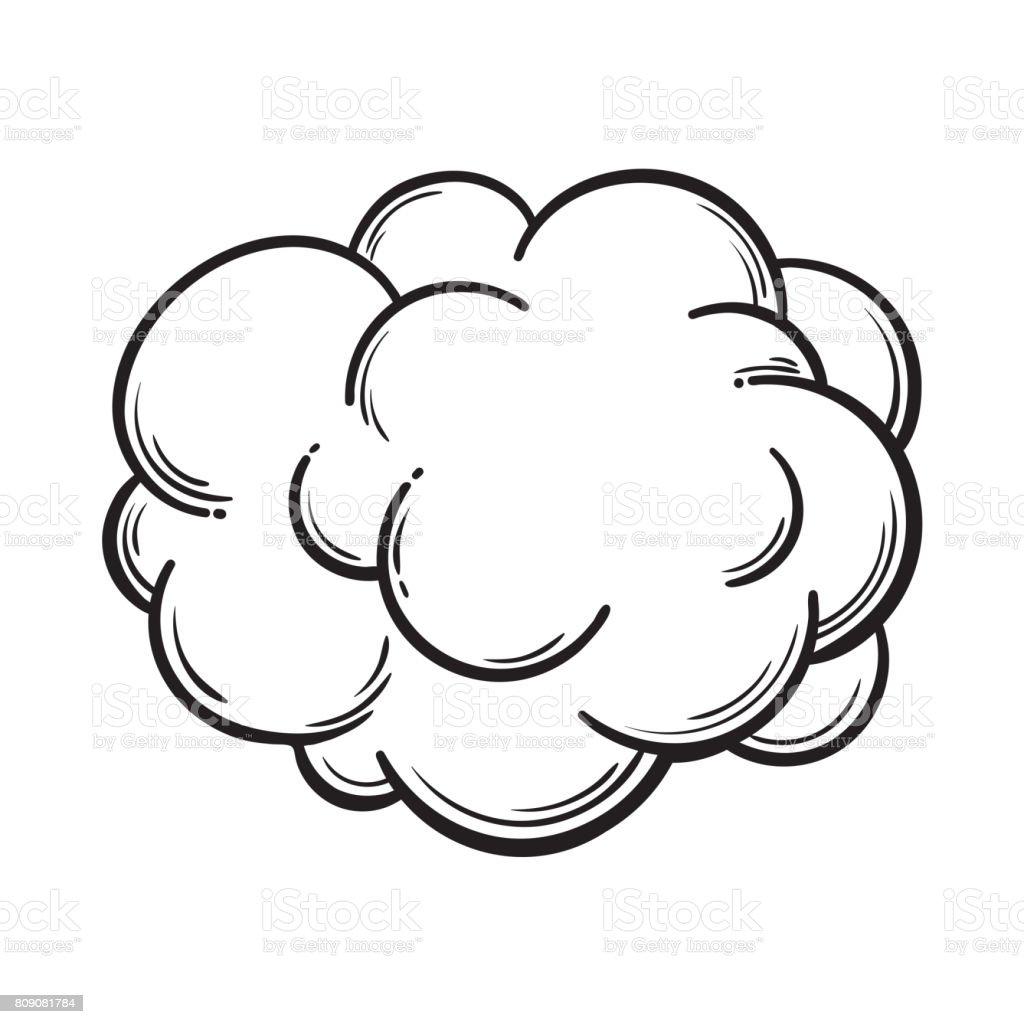hand drawn fog smoke cloud isolated comic sketch vector