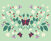 Old fashioned folk art flowers and butterflies