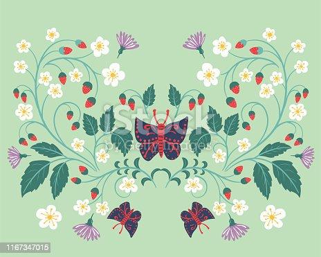 istock Hand Drawn Folk Art Floral 1167347015