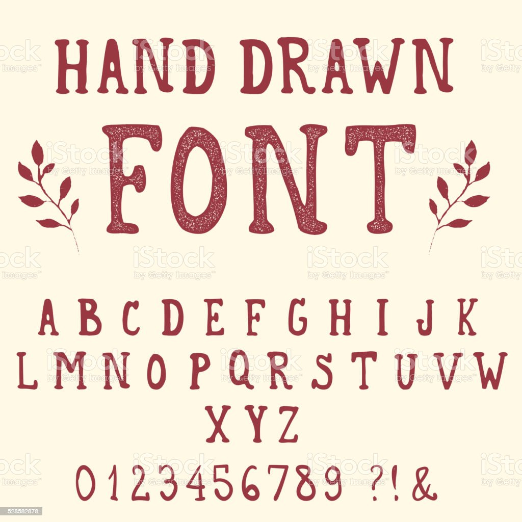 Hand drawn font. Vintage alphabet. vector art illustration