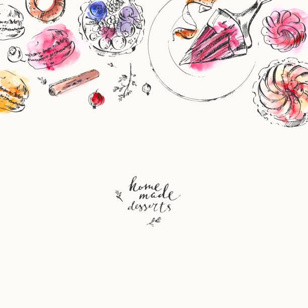 ilustrações de stock, clip art, desenhos animados e ícones de hand drawn food and drink illustration. ink and watercolor sketch of sweet dessert - pudim