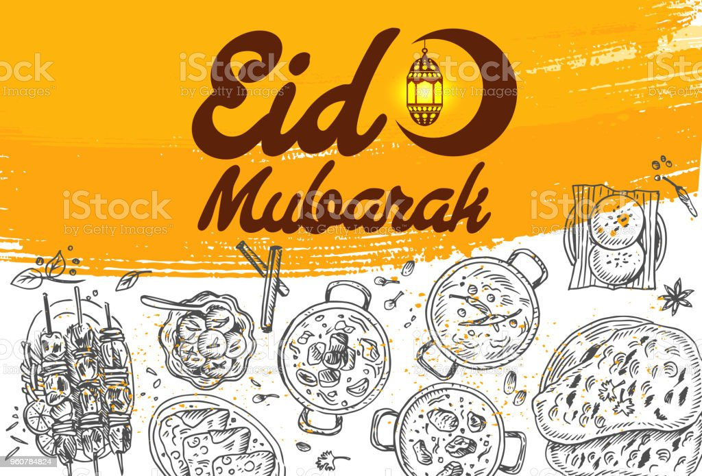 Hand drawn food and Eid Mubarak Calligraphy with crescent moon and lantern, vector vector art illustration